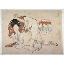Utagawa School: Man on shoulders beneath standing woman - Legion of Honor
