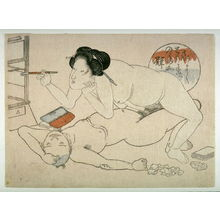 Utagawa School: Woman lighting pipe over supine man - Legion of Honor