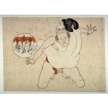 Utagawa School: Woman perched on kneeling man - Legion of Honor