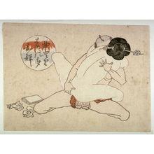 Utagawa School: Woman embracing kneeling man - Legion of Honor