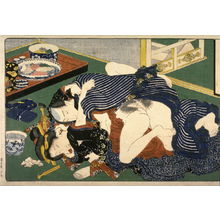 歌川国貞: Couple making love beside an untouched tray of food - Legion of Honor