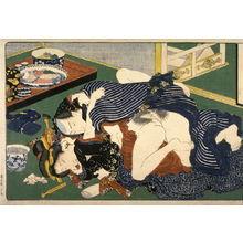 歌川国貞: Couple making love beside an untouched tray of food - Legion of Honor