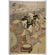 Kitagawa Utamaro: Seated Musicians, perhaps from an unidentfied triptych of Shizuka Gozen Tosses Her Sleeve as She Dances Before Yoshitomi at the Palace in Tsurugaoka ( Tsurugaoka wakamiya ni oite shizukajo sode o mai) - Legion of Honor