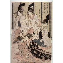 Kitagawa Utamaro: Shizuka Gozen Tosses Her Sleeve as She Dances Before Yoritomo at the Palace in Tsurugaoka (Tsurugaoka wakamiya ni oite shizukajo sode o mai) ,right panel of a diptych - Legion of Honor