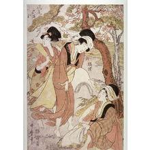 喜多川歌麿: Three Women with Fullers' Mallets (Settsu) from the series The Six Elegant Tama Rivers (Furyu mutamagawa) - Legion of Honor