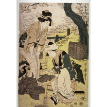Kitagawa Utamaro: Women Making Roof Tiles, panel from a triptych - Legion of Honor
