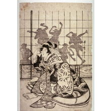 喜多川歌麿: Courtesan Kneeling by a Paper Door with Shadow Dancers - Legion of Honor