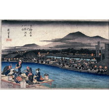 Utagawa Hiroshige: Enjoying the Cool of the Evening Along the River at Shijo (Shijogawara yusuzumi), from the series Famous Places in Kyoto (Kyoto meisho no uchi) - Legion of Honor