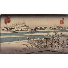 Utagawa Hiroshige: Snow on the Sumida River (Sumidagawa yuki no kei), from a series of Famous Places in Edo (Edo meisho) - Legion of Honor