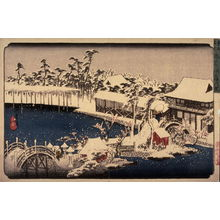 歌川広重: Snow in the Precincts of the Temman Shrine at Kameido (Kameido temmangu kedai yuki), from a series Famous Places in the Eastern Capital (Toto meisho) - Legion of Honor