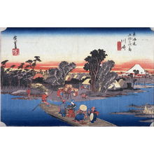 歌川広重: The Rokugo Ferry at Kawasake (Kawasaki rokugo watashibune), no. 3 from the series Fifty-three Stations of the Tokaido (Tokaido gojusantsugi no uchi) - Legion of Honor