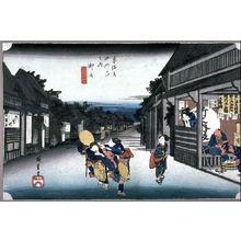 Utagawa Hiroshige: Women Accosting Travelers at Goyu (Goyu tabibito tomeonna), Station 36 from the series Fifty-Three Stations of the T?kaid? (T?kaid? goj?santsugi no uchi) - Legion of Honor