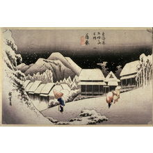 Utagawa Hiroshige: Evening Snow at Kambara (Kambara yoru no yuki), no. 16 from the series Fifty-three Stations of the Tokaido (Tokaido gosantsugi no uchi) - Legion of Honor