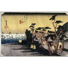 歌川広重: Tora's Rain at Oiso (Oiso tora no ame), no. 9 from the series Fifty-three Stations of the Tokaido (Tokaido gojusantsugi no uchi) - Legion of Honor