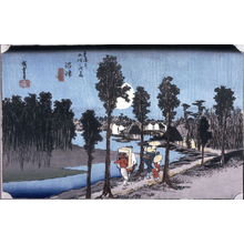 Utagawa Hiroshige: Twilight at Numazu (Numazu tasogare zu), no. 13 from the series Fifty-three Stations of the Tokaido (Tokaido gojusantsugi no uchi) - Legion of Honor