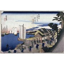 歌川広重: The Departure of the Noblemen at Shinagawa (Shinagawa shoko detachi), no. 2 from the series Fifty-three Stations of the Tokaido (Tokaido gojusantsugi no uchi) - Legion of Honor