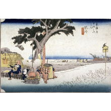 Utagawa Hiroshige: An Outdoor Tea Stall at Fukuroi (Fukuroi dejaya no zu), no. 28 from the series Fifty-three Stations of the Tokaido (Tokaido gosantsugi no uchi) - Legion of Honor