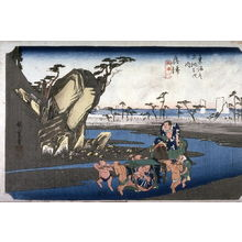歌川広重: The Okitsu River near Okitsu (Okitsu okitsugawa), no. 18 from the series Fifty-three Stations of the Tokaido (Tokaido gosantsugi no uchi) - Legion of Honor