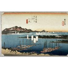 歌川広重: Distant View of Mio from Ejiri (Ejiri mio embo), no. 19 from the series Fifty-three Stations of the Tokaido (Tokaido gosantsugi no uchi) - Legion of Honor