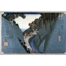 Utagawa Hiroshige: Utsu Mountain near Okabe (Okabe utsunoyama), no. 22 from the series Fifty-three Stations of the Tokaido (Tokaido gosantsugi no uchi) - Legion of Honor