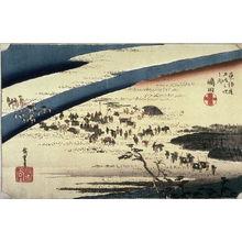 Utagawa Hiroshige: The Suruga bank of the Oi River near Shimada (Shimada oigawa sungan), no. 24 from the series Fifty-three Stations of the Tokaido (Tokaido gosantsugi no uchi) - Legion of Honor