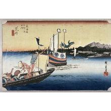 Utagawa Hiroshige: Ferry boats at Arai (Arai watashibune no zu), no. 32 from the series Fifty-three Stations of the Tokaido (Tokaido gosantsugi no uchi) - Legion of Honor