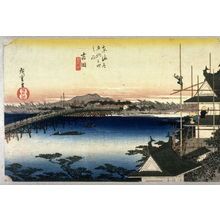 歌川広重: The Bridge on the Toyo River near Yoshida (Yoshida toyokawa no hashi), no. 35 from the series Fifty-three Stations of the Tokaido (Tokaido gosantsugi no uchi) - Legion of Honor