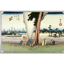 歌川広重: Bare Trees in Winter at Hammatsu (Hamamatsu fuyugare no zu), no. 30 from the series Fifty-three Stations of the Tokaido (Tokaido gosantsugi no uchi) - Legion of Honor