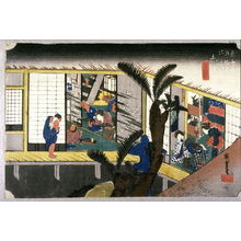 Utagawa Hiroshige: Waitresses at an Inn at Akasaka (Akasaka ryosha shofu no zu), no. 37 from the series Fifty-three Stations of the Tokaido (Tokaido gosantsugi no uchi) - Legion of Honor