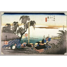 Utagawa Hiroshige: Boundary Marker at Fujikawa (Fujikawa bobana no zu), no. 38 from the series Fifty-three Stations of the Tokaido (Tokaido gosantsugi no uchi) - Legion of Honor