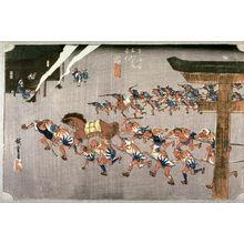 歌川広重: Festival at Atsuta Shrine at Miya (Miya artsuta shinji), no. 42 from the series Fifty-three Stations of the Tokaido (Tokaido gosantsugi no uchi) - Legion of Honor