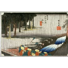 Utagawa Hiroshige: Spring Rain at Tsuchiyama (Tsuchiyama haru no ame), no. 50 from the series Fifty-three Stations of the Tokaido (Tokaido gosantsugi no uchi) - Legion of Honor