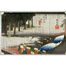 歌川広重: Spring Rain at Tsuchiyama (Tsuchiyama haru no ame), no. 50 from the series Fifty-three Stations of the Tokaido (Tokaido gosantsugi no uchi) - Legion of Honor