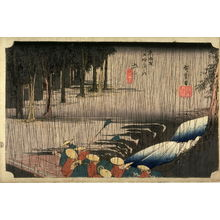 Utagawa Hiroshige: Spring Rain at Tsuchiyama (Tsuchiyama haru no ame), no. 50 from the series Fifty-three Stations of the Tokaido (Tokaido gosantsugi no uchi)Spring Rain at Tsuchiyama (Tsuchiyama haru no ame), no. 50 from the series Fifty-three Stations of the Tokaido (Tokaido gosantsugi no uchi) - Legion of Honor