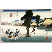 Utagawa Hiroshige: Dried Gourd Strips, a Product of Minakuchi (Minakuchi meibutsu kampyo), no. 51 from the series Fifty-three Stations of the Tokaido (Tokaido gosantsugi no uchi) - Legion of Honor
