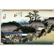 Utagawa Hiroshige: The Running Well Teahouse at Otsu (Otsu hashirii chamise), no. 54 from the series Fifty-three Stations of the Tokaido (Tokaido gosantsugi no uchi) - Legion of Honor