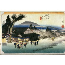 歌川広重: Megawa Village near Ishibe (Ishibe megawa no sato), no. 52 from the series Fifty-three Stations of the Tokaido (Tokaido gosantsugi no uchi) - Legion of Honor