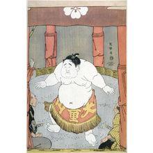 東洲斎写楽: Wrestlers and Umpires Contemplating the Child Wonder Daidozan Bungoro - Plate 37 (part of triptych) from the portfolio Sharaku, Vol. 1 (Tokyo: Adachi Colour Print Studio, 1940) - Legion of Honor