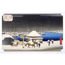 歌川広重: Tankanawa Yoru no Yuki (A Snow Evening at Takanawa) - Pl. A from the portfolio Eight Snow Scenes in the Eastern Capital - Legion of Honor