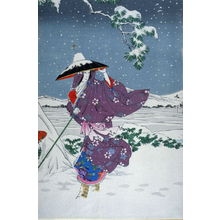 Mizuno Toshikata: Omae in the midst of the snow (second in triptych) - Legion of Honor