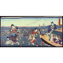 歌川国貞: Third Month: Prince Genji Watching Townspeople Gather Shells at Low Tide (Yayoi), from the series The Twelve Months (Junigatsu no uchi) - Legion of Honor