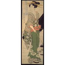 Kikugawa Eizan: Geisha with Samisen Case and Lantern - Legion of Honor