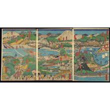 Utagawa Yoshitora: Tokyo to [across Tokyo Bay], sheets1-3 of a twelve panel composition Famous Places on the Tokaido: Shogun's Procession to Kyoto to Meet the Emperor (Tokaido meisho zu) - Legion of Honor