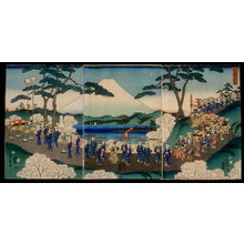 二歌川広重: A Procession of Women on a Journey of Flowers (Hana no tabi onna gyoretsu) - Legion of Honor
