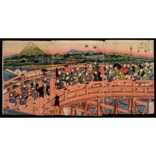 Keisai Eisen: Children's Pastimes: A Procession on Nihon Bridge (Osana asobi Nihonbashi gyoretsu no zu) - Legion of Honor