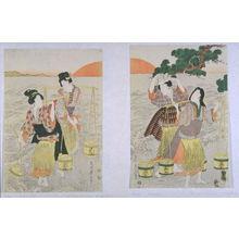 Kikugawa Eizan: Four Women on a Beach at Dawn Gathering Pails of Brine - Legion of Honor