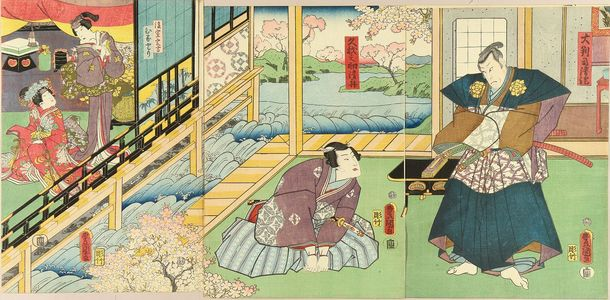 Utagawa Kunisada: A scene of a kabuki performance, triptych, 1859 - Hara Shobō