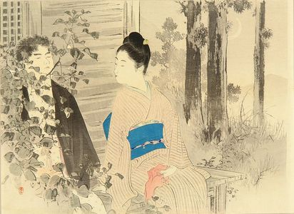 Mizuno Toshikata: A frontispiece of a novel, 1900 - Hara Shobō