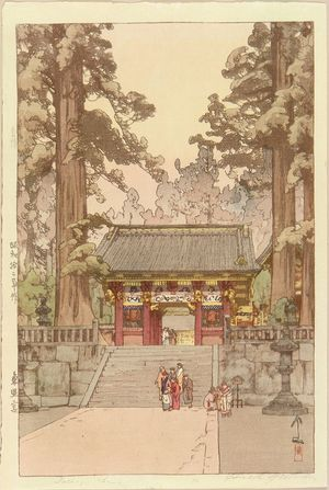 Yoshida Hiroshi: Toshogu Shrine, signed in pencil in Roman, and in Brush in Japanese, - Hara Shobō