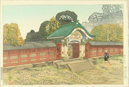 Oda Kazuma: The mausoleum at Shiba, published by Watanabe, 1930 - Hara Shobō